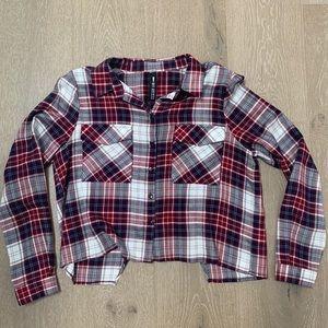 Design Lab cropped plaid shirt.